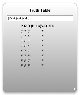 Truth Table Widget